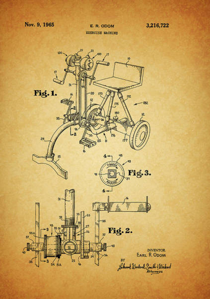 Fitness Mixed Media - 1965 Exercise Machine Patent by Dan Sproul