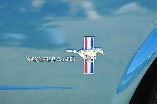 Ford Mustang Photograph - 1965 Ford Mustang Emblem 6 by Jill Reger