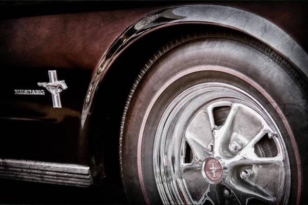 Wall Art - Photograph - 1965 Ford Mustang Wheel Emblem -0217ac by Jill Reger