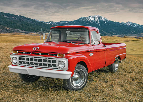 Glossy Photograph - 1965 Ford Truck 2 by Leland D Howard