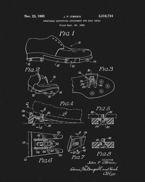 Wall Art - Drawing - 1965 Golf Shoes Patent by Dan Sproul