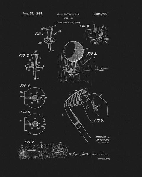 Drawing - 1965 Golf Tee Patent by Dan Sproul