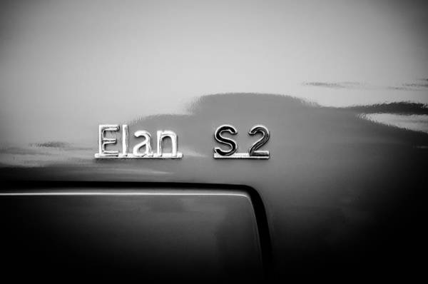 Photograph - 1965 Lotus Elan S2 Drop Head Side Emblem -1211bw by Jill Reger