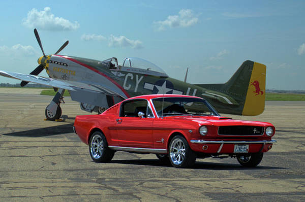 Photograph - 1965 Mustang Fastback And P51 Mustang by Tim McCullough