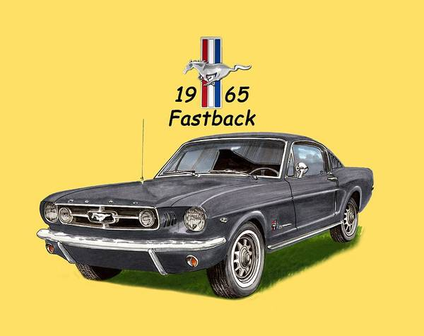Classic Car Drawings Painting -  Mustang Fastback 1965 by Jack Pumphrey