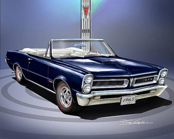 Car Drawings Mixed Media - 1965 Pontiac Gto Convertibile by Danny Whitfield