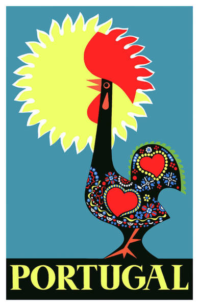 Wall Art - Digital Art - 1965 Portugal Rooster Of Barcelos Travel Poster by Retro Graphics