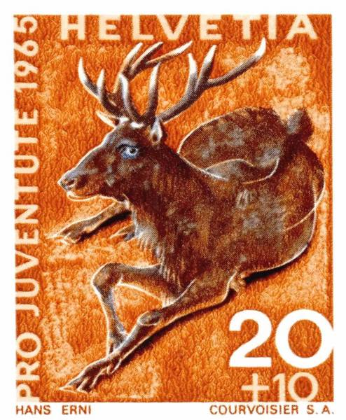 Hart Wall Art - Digital Art - 1965 Switzerland Red Deer Postage Stamp by Retro Graphics