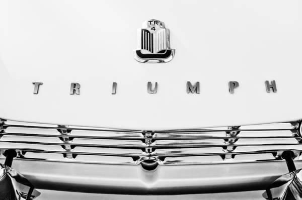 Photograph - 1965 Triumph Tr-4 Hood Ornament - Emblem -067bw by Jill Reger