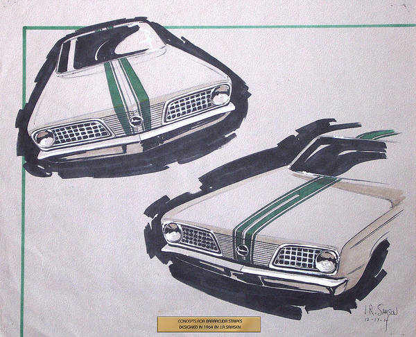 Wall Art - Drawing - 1966 Barracuda  Plymouth Vintage Styling Design Concept Rendering Sketch by John Samsen