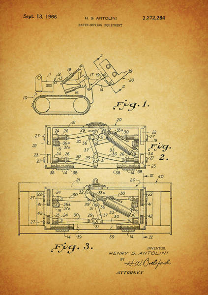 Blades Mixed Media - 1966 Bulldozer Patent by Dan Sproul