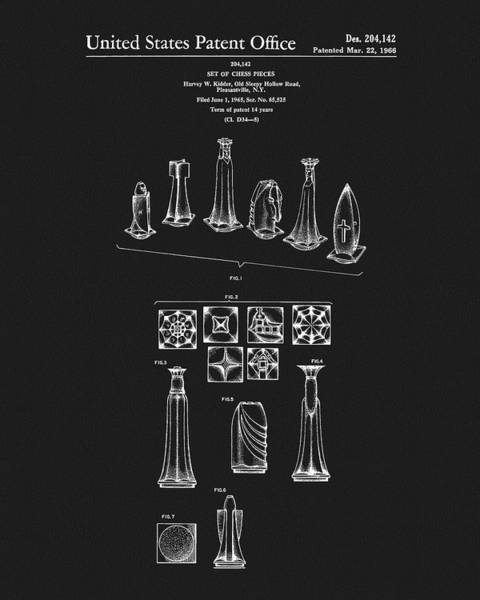 Mixed Media - 1966 Chess Pieces Patent by Dan Sproul