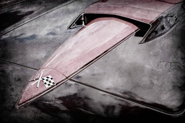 Wall Art - Photograph - 1966 Chevrolet Corvette Hood Emblem -0069ac by Jill Reger