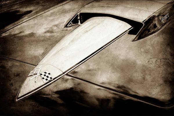 Wall Art - Photograph - 1966 Chevrolet Corvette Hood Emblem -0069s by Jill Reger