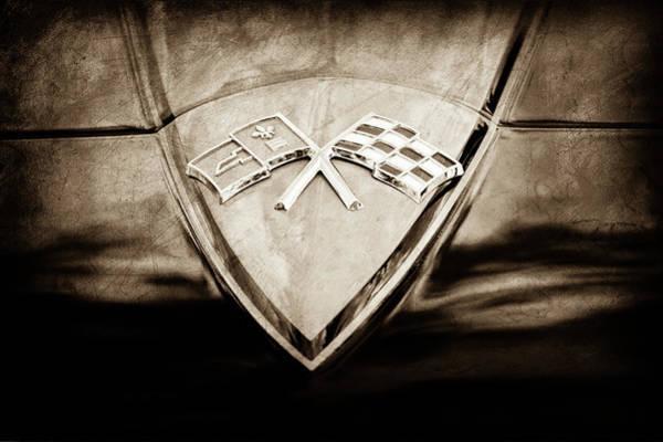 Wall Art - Photograph - 1966 Chevrolet Corvette Hood Emblem -0206s by Jill Reger
