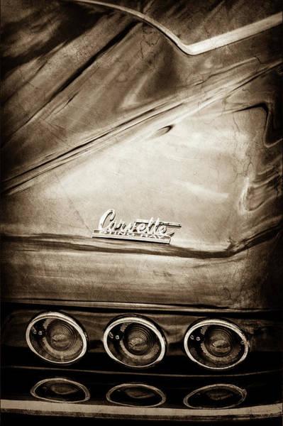 Wall Art - Photograph - 1966 Chevrolet Corvette Taillight Emblem -0176s by Jill Reger