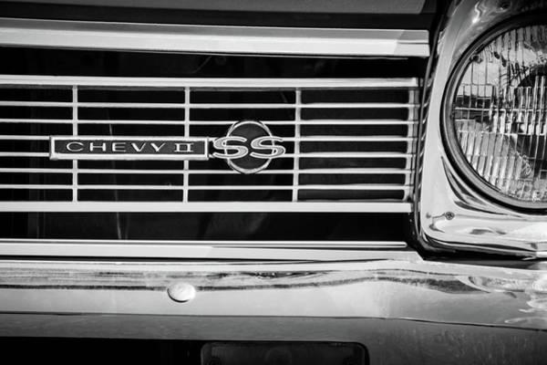 Wall Art - Photograph - 1966 Chevrolet Nova - Chevy II Ss Grille Emblem -0075bw by Jill Reger