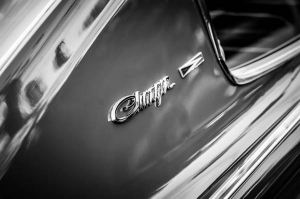 Photograph - 1966 Dodge Charger Side Emblem -1219bw by Jill Reger