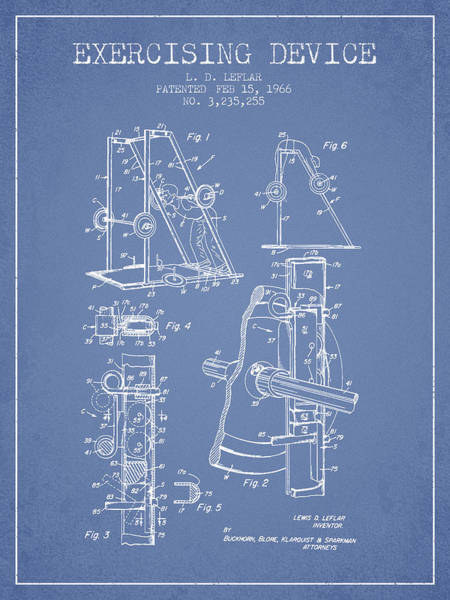 1966 Exercising Device Patent Spbb05_lb Art Print
