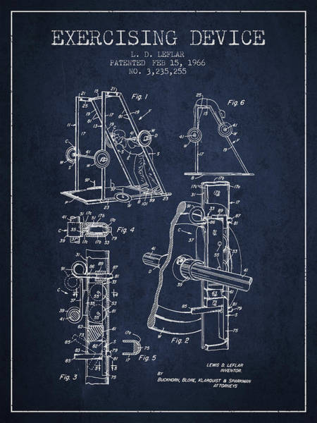 1966 Exercising Device Patent Spbb05_nb Art Print