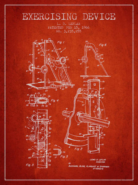 1966 Exercising Device Patent Spbb05_vr Art Print