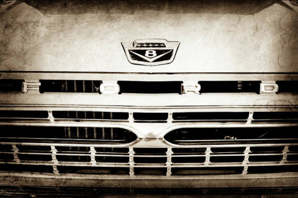 Wall Art - Photograph - 1966 Ford F100 Pickup Truck Grille Emblem -113s by Jill Reger