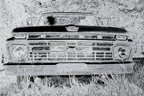 Photograph - 1966 Ford F100 Sketch by Lisa Wooten