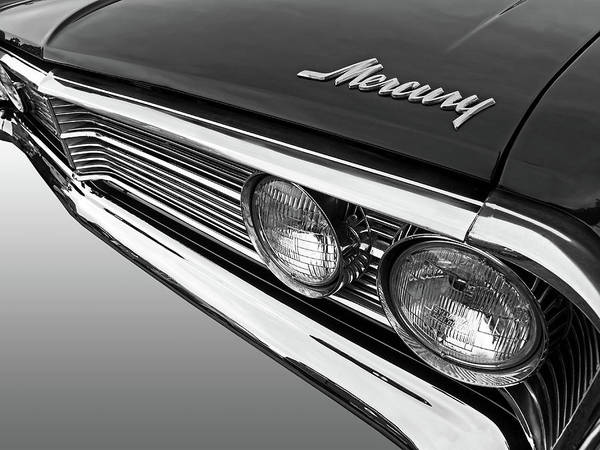 Photograph - 1966 Ford Mercury Hood Grille And Headlights In Black And White by Gill Billington
