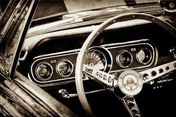 Wall Art - Photograph - 1966 Ford Mustang Cobra Steering Wheel -0338s by Jill Reger