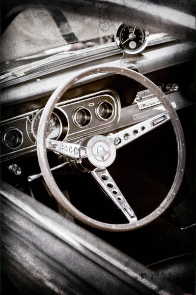 Photograph - 1966 Ford Mustang Cobra Steering Wheel Emblem -0091ac by Jill Reger