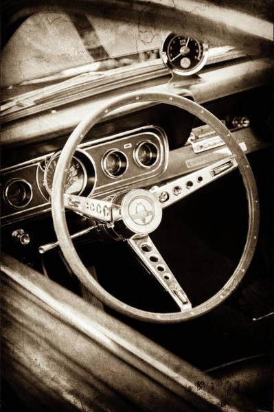 Wall Art - Photograph - 1966 Ford Mustang Cobra Steering Wheel Emblem -0091s by Jill Reger