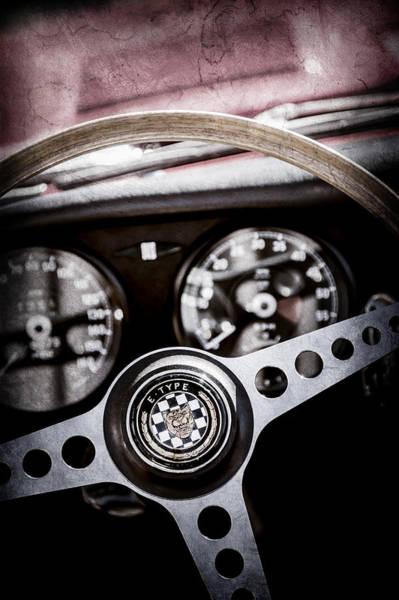 Wall Art - Photograph - 1966 Jaguar Xk-e Steering Wheel Emblem -2489ac by Jill Reger