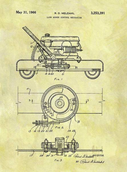 Weeds Drawing - 1966 Mower Patent by Dan Sproul