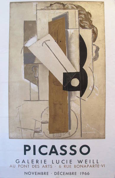 Wall Art - Painting - 1966 Pablo Picasso Exhibition Poster, Galerie Lucie Weill by Pablo Picasso