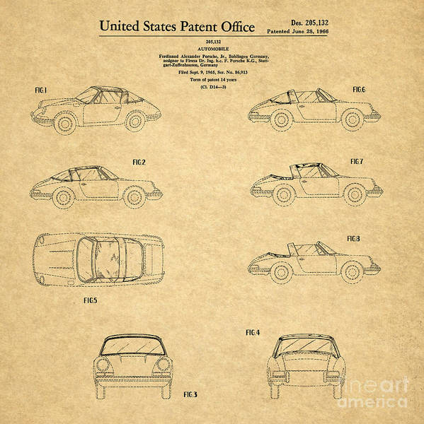 Wall Art - Drawing - 1966 Porsche Car Patent 1 by Nishanth Gopinathan