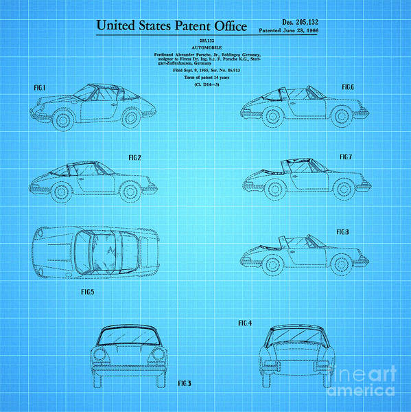 Wall Art - Drawing - 1966 Porsche Car Patent 2 by Nishanth Gopinathan
