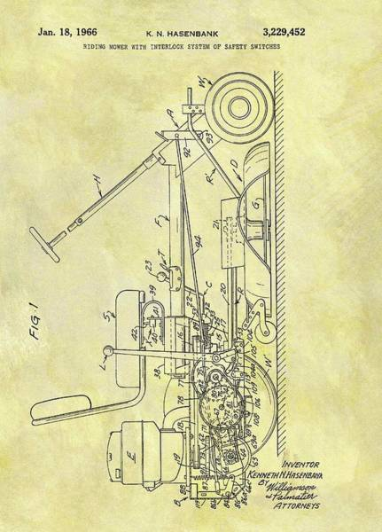 Weeds Drawing - 1966 Riding Mower Patent by Dan Sproul
