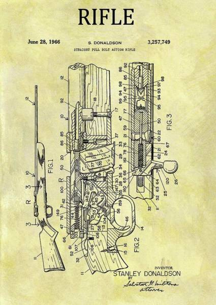 Target Drawing - 1966 Rifle Patent by Dan Sproul