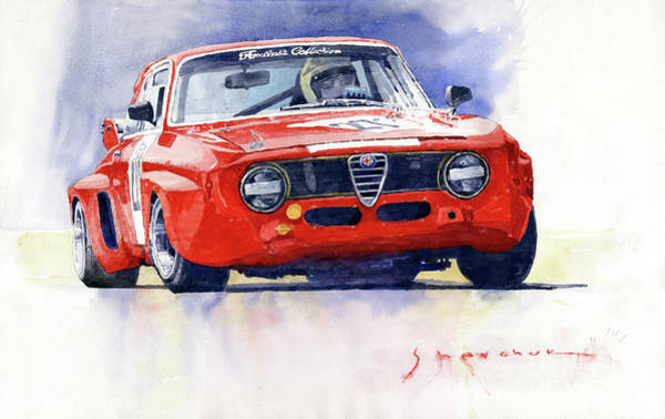 Wall Art - Painting - 1967 Alfa Romeo Gta 1600 Groupe 5  by Yuriy Shevchuk