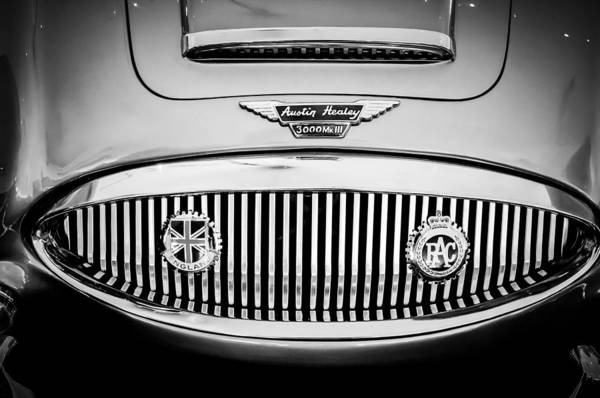 Photograph - 1967 Austin-healey Bj8 Convertible Grille -0069bw by Jill Reger