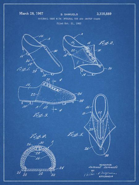 Drawing - 1967 Baseball Shoe Patent by Dan Sproul