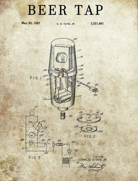 Drawing - 1967 Beer Tap by Dan Sproul