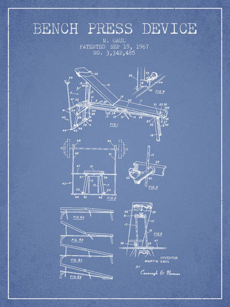 1967 Bench Press Device Patent Spbb06_lb Art Print