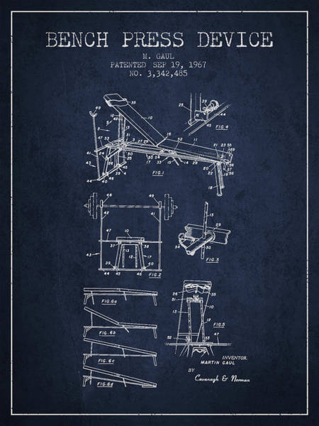 1967 Bench Press Device Patent Spbb06_nb Art Print