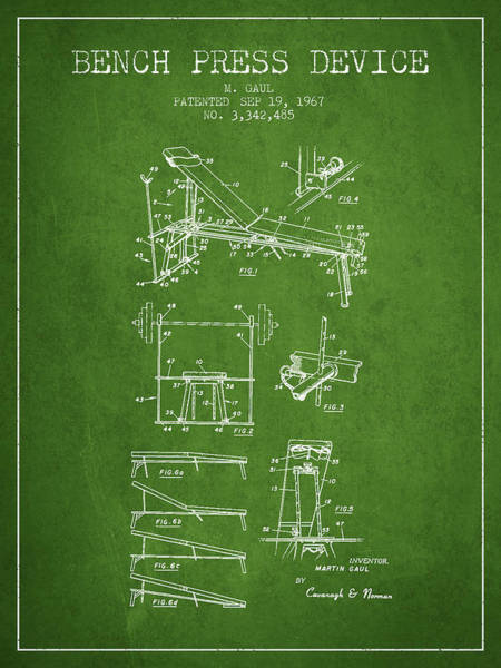 1967 Bench Press Device Patent Spbb06_pg Art Print