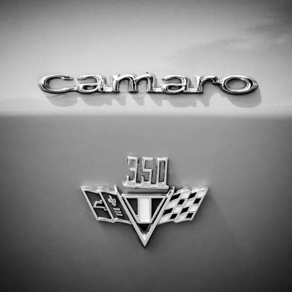 Wall Art - Photograph - 1967 Chevrolet Camaro 350 Emblem -0357bw55 by Jill Reger