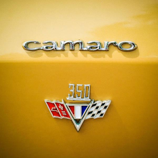 Wall Art - Photograph - 1967 Chevrolet Camaro 350 Emblem -0357c55 by Jill Reger