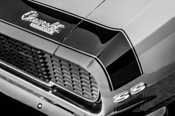 Photograph - 1967 Chevrolet Camaro Emblem -0006bw by Jill Reger