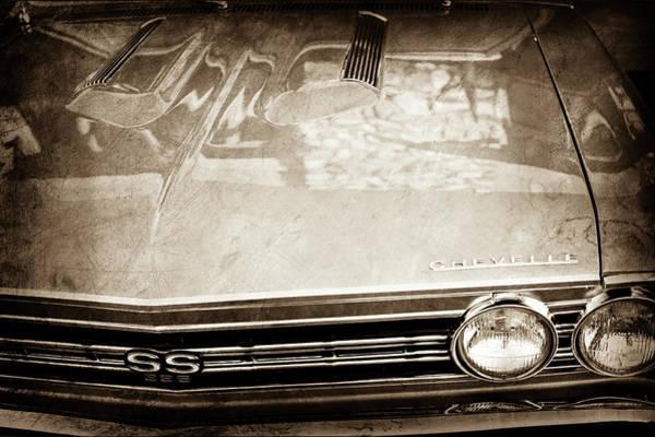Wall Art - Photograph - 1967 Chevrolet Chevelle Super Sport Grille Emblem -0043s by Jill Reger