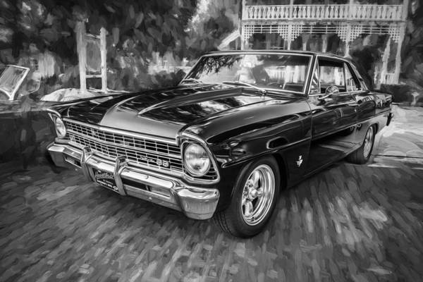 Street Racer Photograph - 1967 Chevrolet Nova Super Sport Painted Bw 1 by Rich Franco